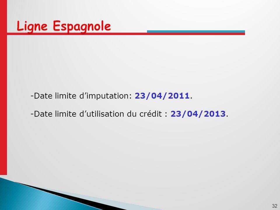 -Date limite d'imputation: 23/04/2011.