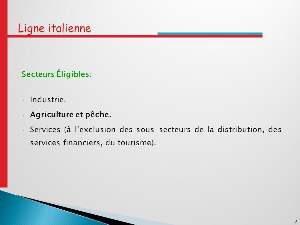 Ligne italienne Secteurs Éligibles: Industrie. Agriculture et pêche.
