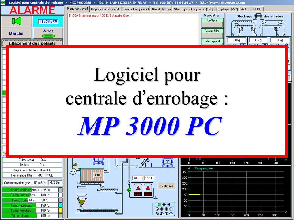 Logiciel pour centrale d'enrobage : MP 3000 PC