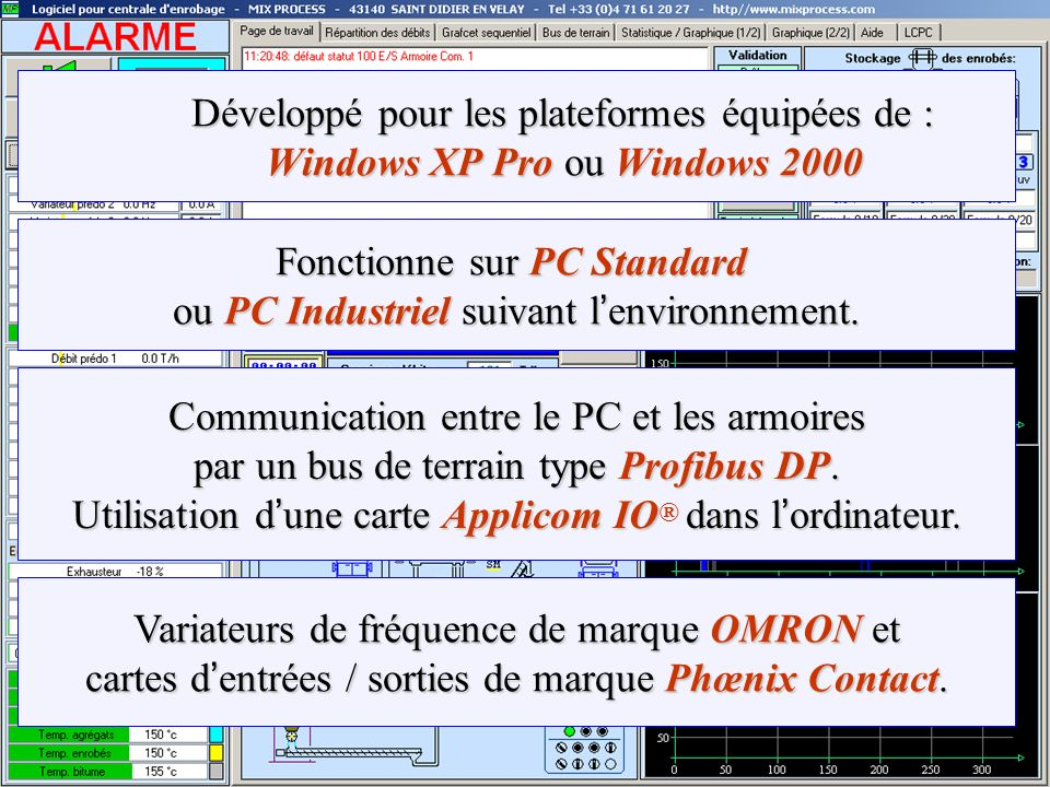 Fonctionne sur PC Standard ou PC Industriel suivant l'environnement.