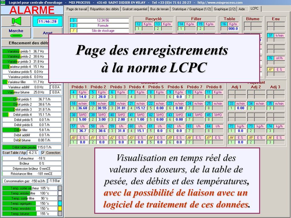 Page des enregistrements à la norme LCPC