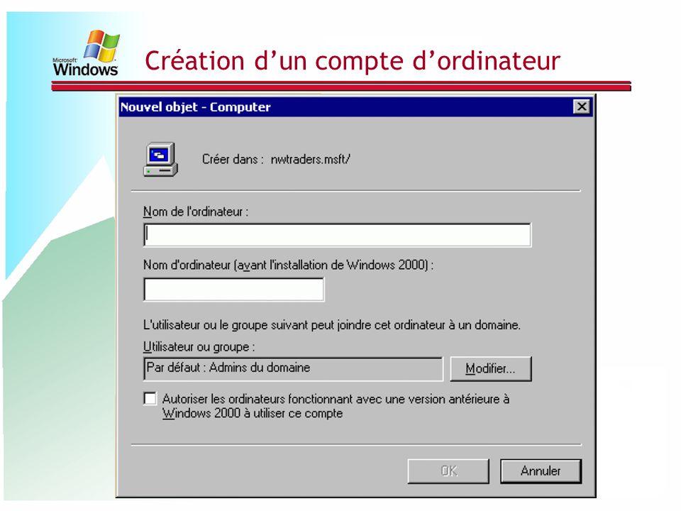 Création d'un compte d'ordinateur