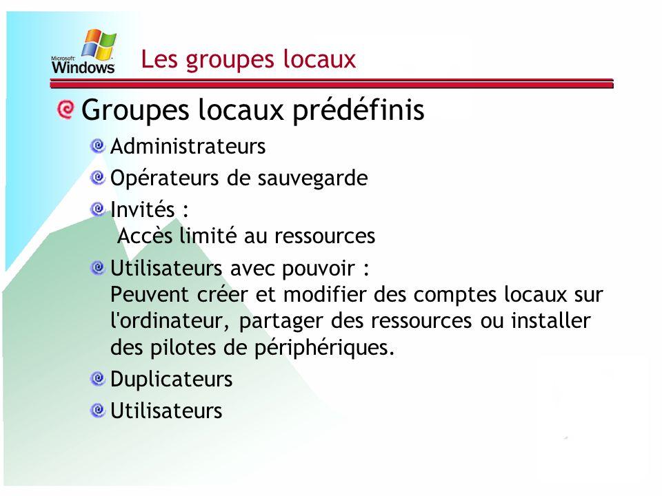 Groupes locaux prédéfinis
