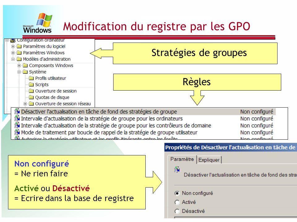 Modification du registre par les GPO