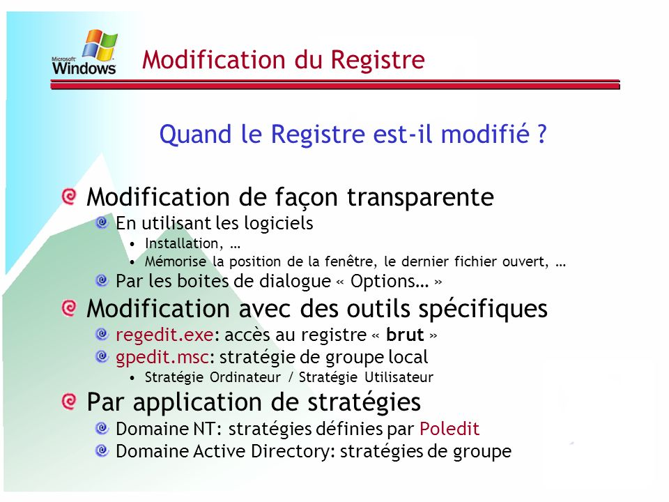 Modification du Registre