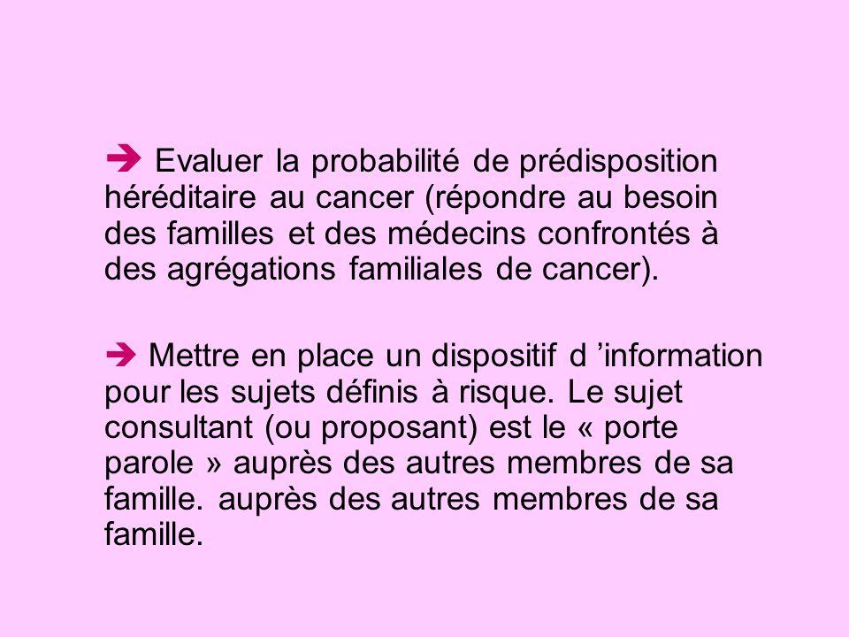  Evaluer la probabilité de prédisposition héréditaire au cancer (répondre au besoin des familles et des médecins confrontés à des agrégations familiales de cancer).