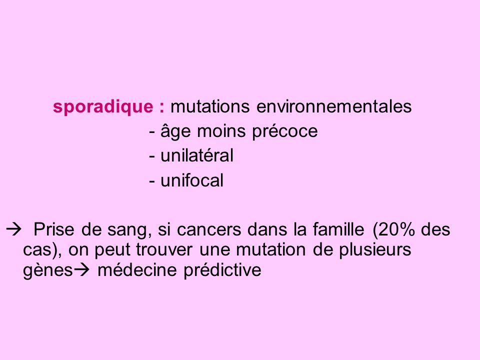 sporadique : mutations environnementales