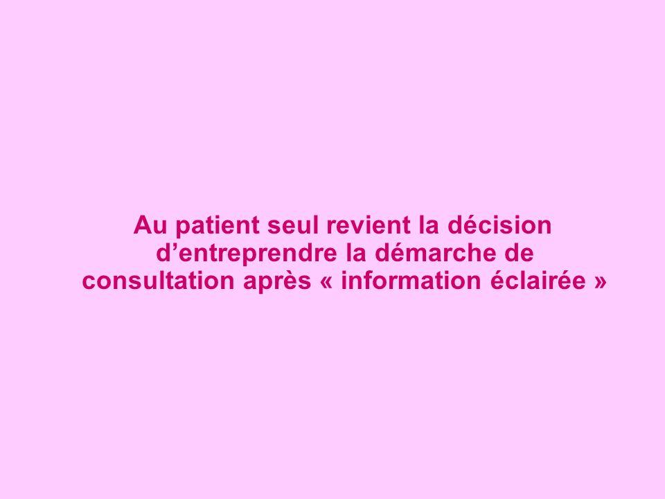 Au patient seul revient la décision d'entreprendre la démarche de consultation après « information éclairée »