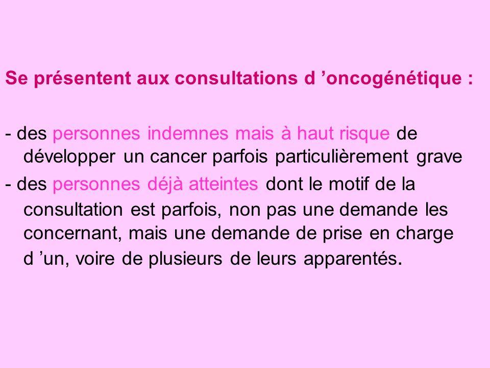 Se présentent aux consultations d 'oncogénétique :