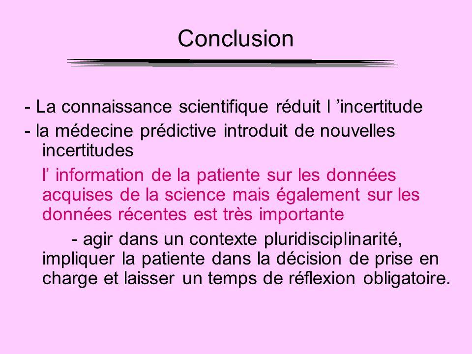 Conclusion - La connaissance scientifique réduit l 'incertitude