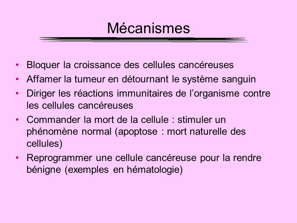 Mécanismes Bloquer la croissance des cellules cancéreuses