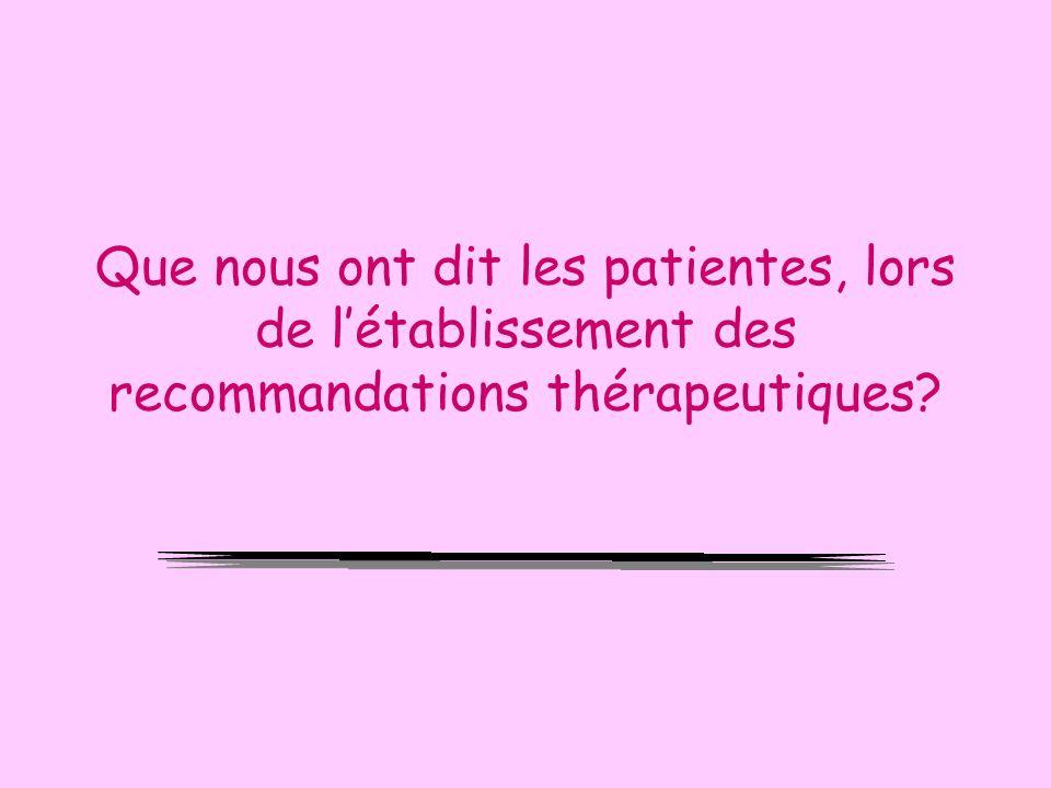Que nous ont dit les patientes, lors de l'établissement des recommandations thérapeutiques