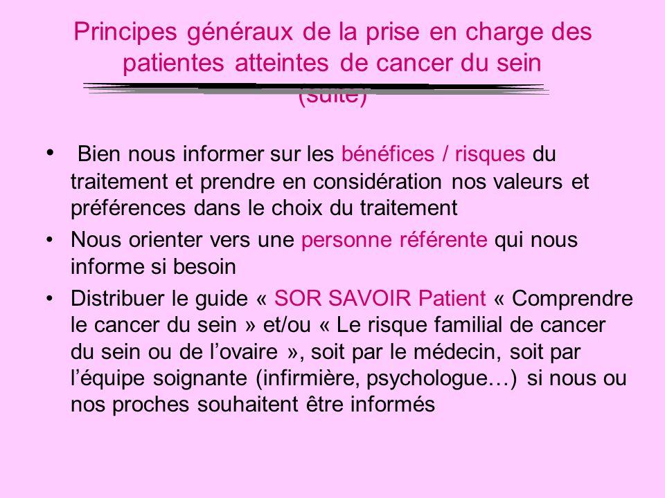 Principes généraux de la prise en charge des patientes atteintes de cancer du sein (suite)