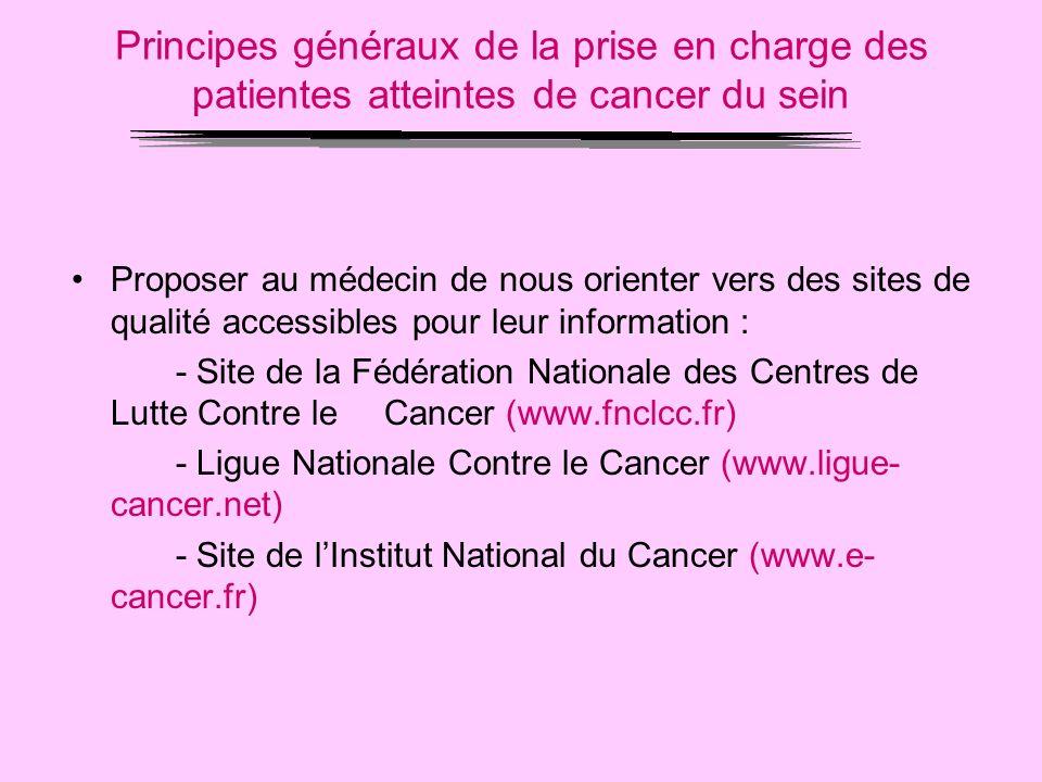 Principes généraux de la prise en charge des patientes atteintes de cancer du sein