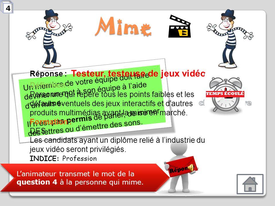 Mime Réponse : Testeur, testeuse de jeux vidéo