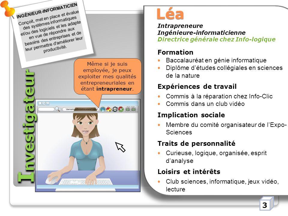 Investigateur Léa 3 Formation Baccalauréat en génie informatique
