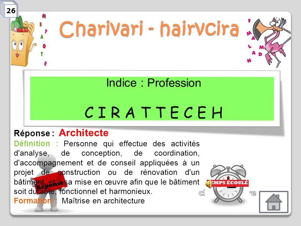Charivari - hairvcira C I R A T T E C E H Indice : Profession