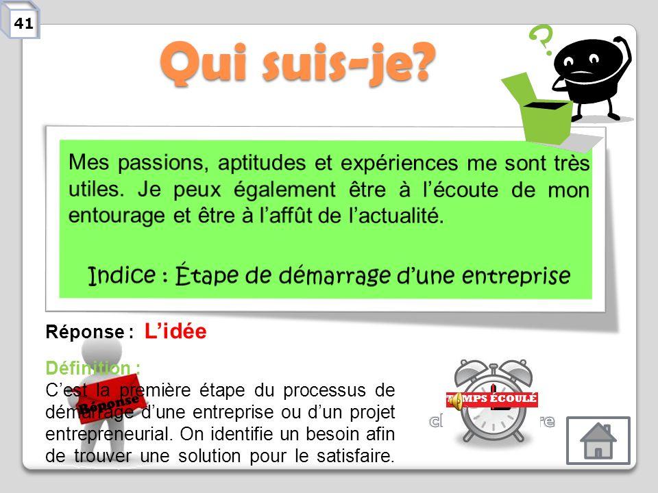 Indice : Étape de démarrage d'une entreprise