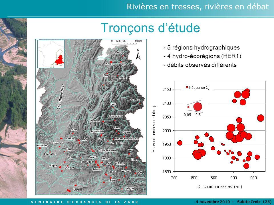 Tronçons d'étude - 5 régions hydrographiques