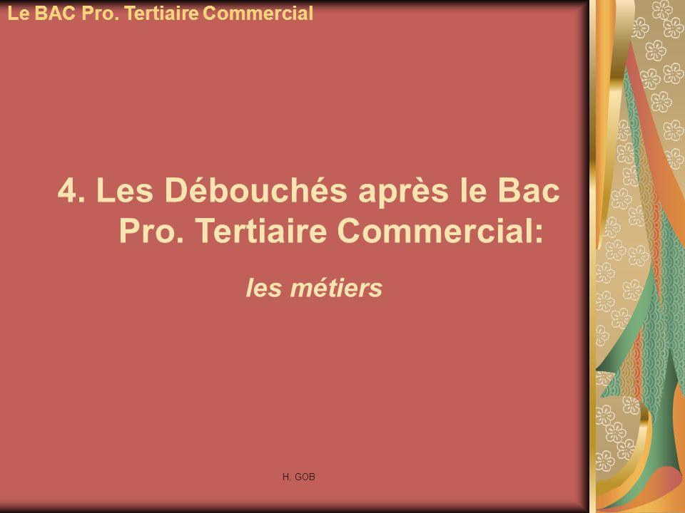 4. Les Débouchés après le Bac Pro. Tertiaire Commercial: