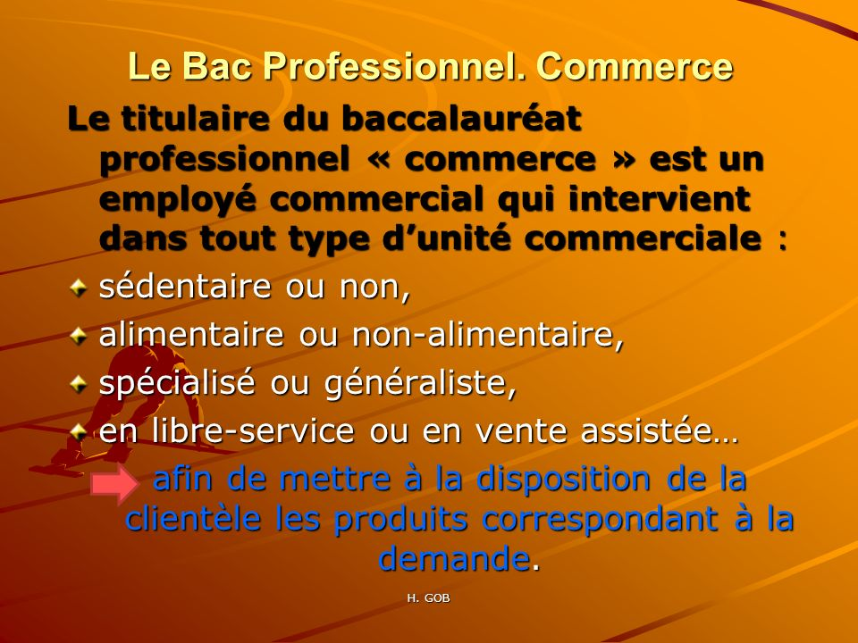pr sentation du bac professionnel tertiaire commercial ppt t l charger. Black Bedroom Furniture Sets. Home Design Ideas