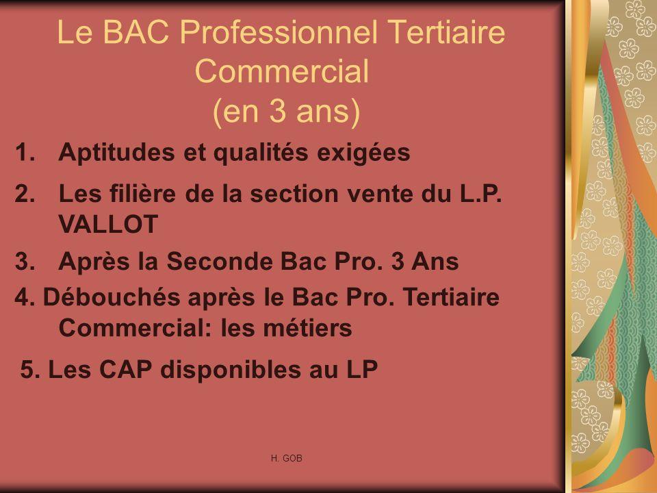 Le BAC Professionnel Tertiaire Commercial (en 3 ans)