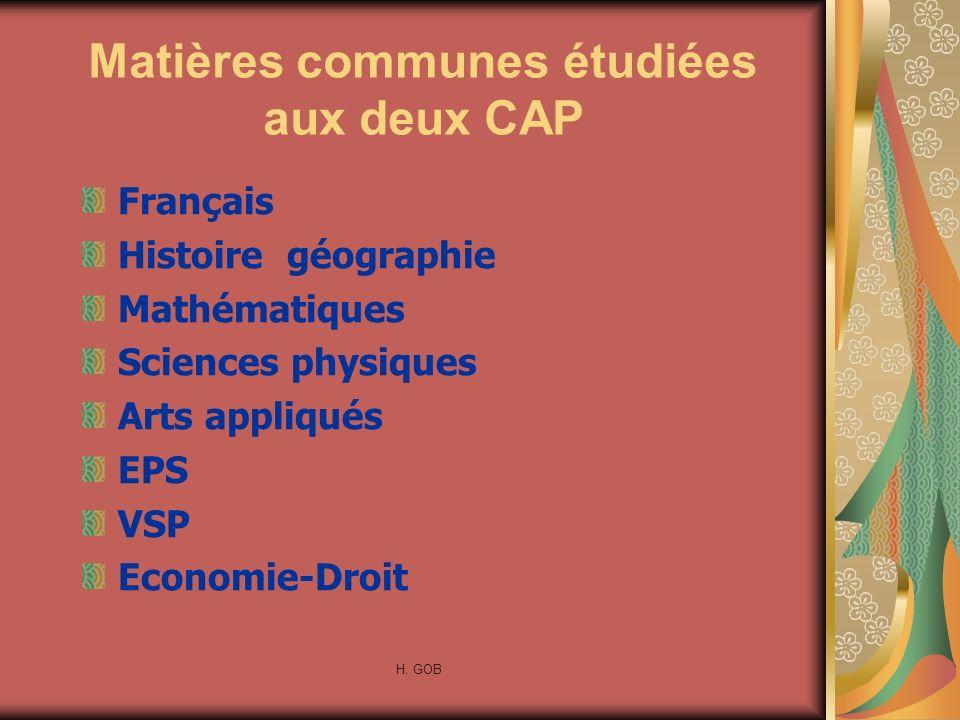 Matières communes étudiées aux deux CAP