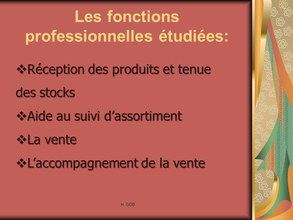 Les fonctions professionnelles étudiées: