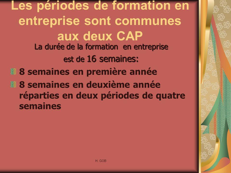 Les périodes de formation en entreprise sont communes aux deux CAP