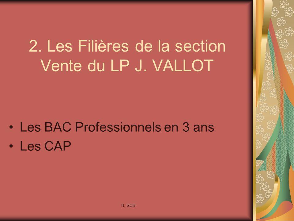 2. Les Filières de la section Vente du LP J. VALLOT