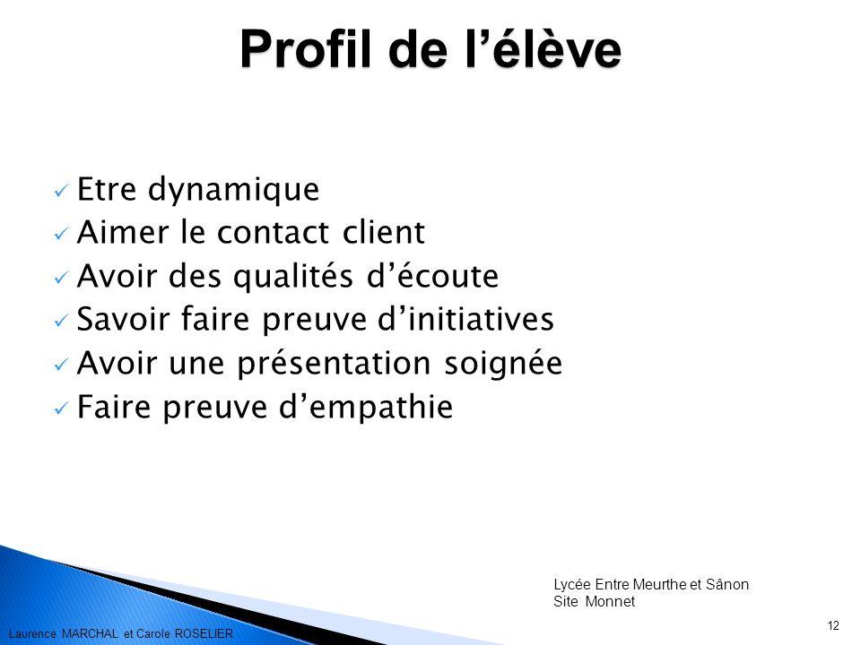 Profil de l'élève Etre dynamique Aimer le contact client