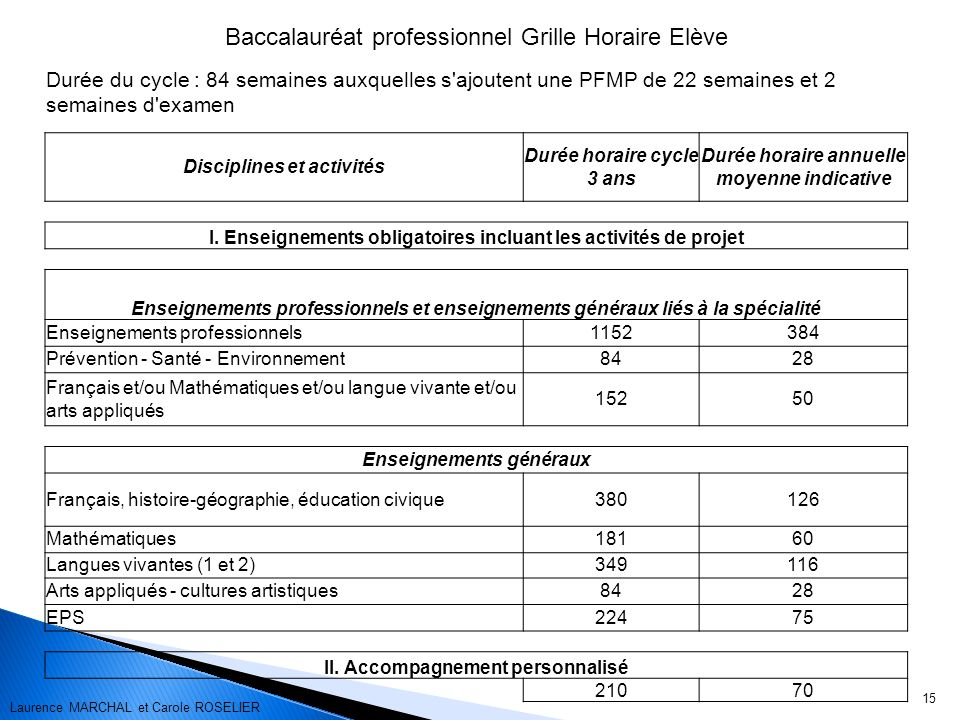 Baccalauréat professionnel Grille Horaire Elève