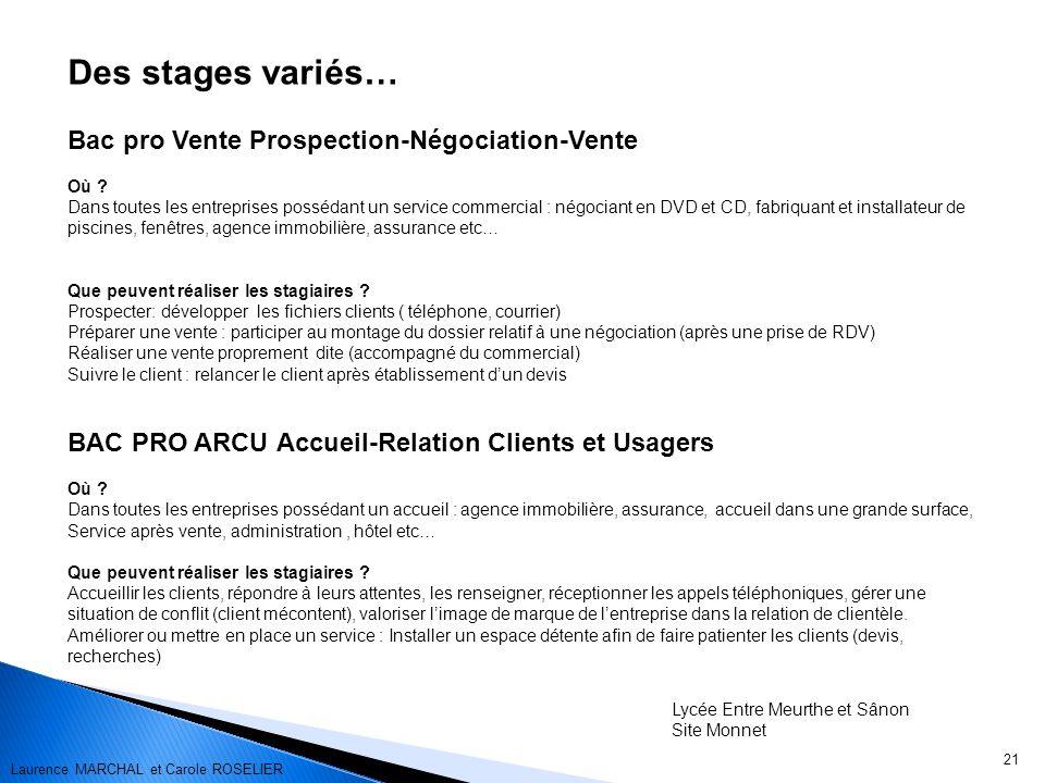 Des stages variés… Bac pro Vente Prospection-Négociation-Vente
