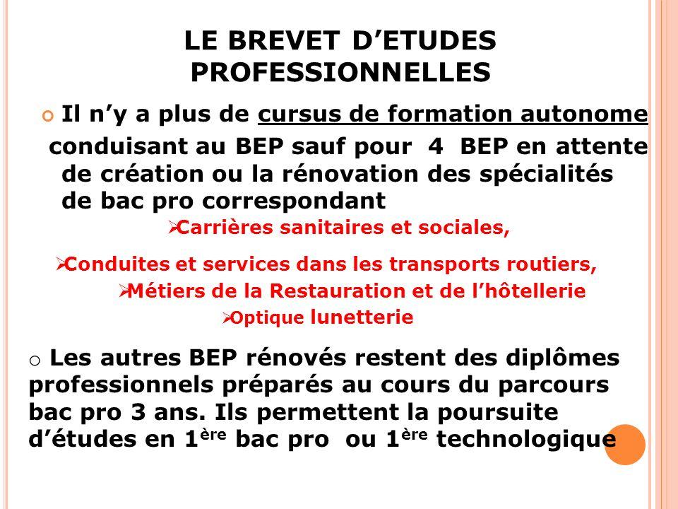LE BREVET D'ETUDES PROFESSIONNELLES