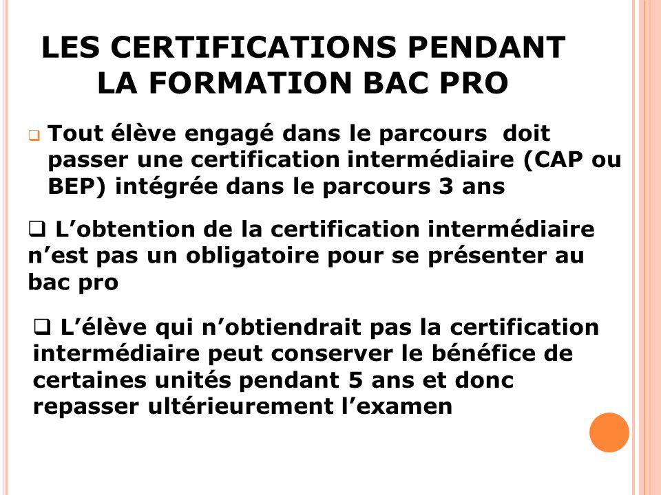 LES CERTIFICATIONS PENDANT LA FORMATION BAC PRO