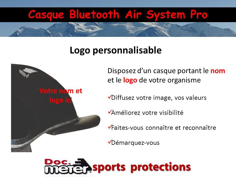 Logo personnalisable Votre nom et logo ici. Disposez d'un casque portant le nom et le logo de votre organisme.