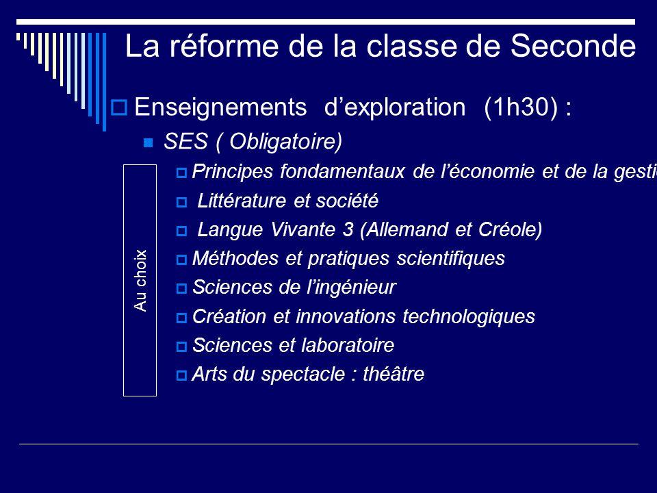 La réforme de la classe de Seconde