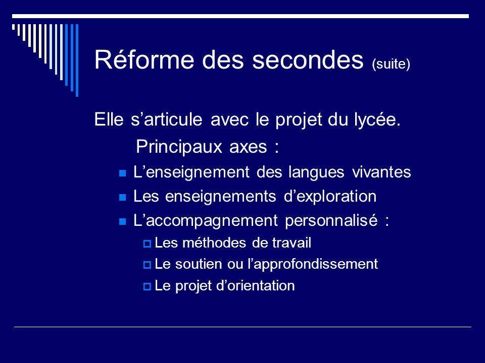 Réforme des secondes (suite)