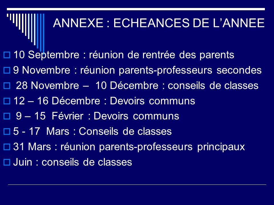 ANNEXE : ECHEANCES DE L'ANNEE