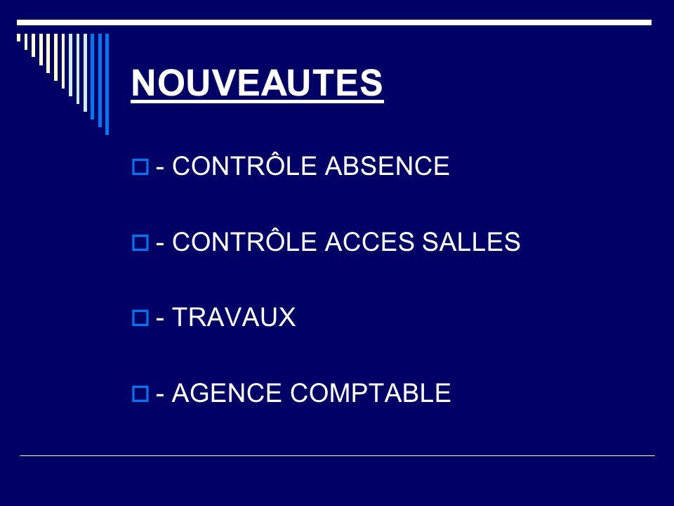 NOUVEAUTES - CONTRÔLE ABSENCE - CONTRÔLE ACCES SALLES - TRAVAUX