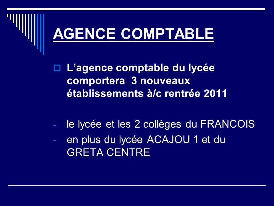 AGENCE COMPTABLE L'agence comptable du lycée comportera 3 nouveaux établissements à/c rentrée 2011.
