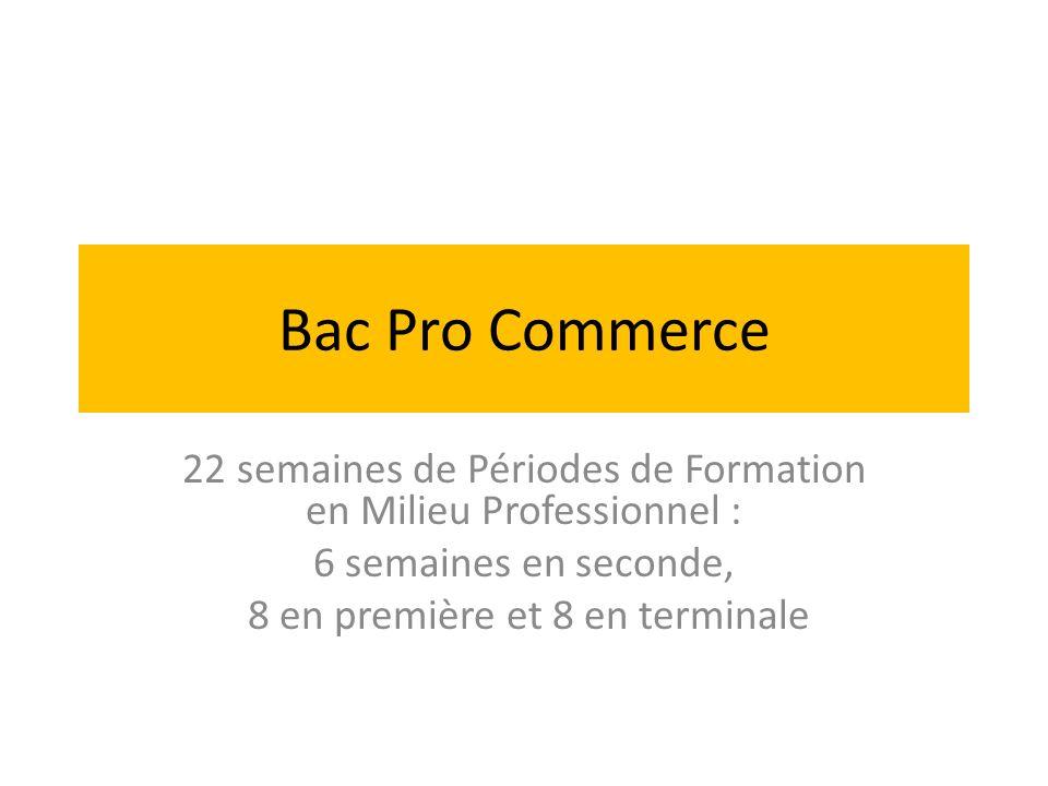 Bac Pro Commerce 22 semaines de Périodes de Formation en Milieu Professionnel : 6 semaines en seconde,