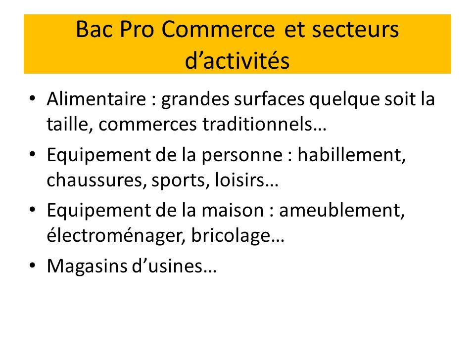 Bac Pro Commerce et secteurs d'activités