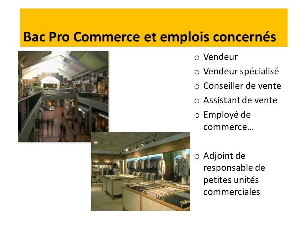 Bac Pro Commerce et emplois concernés