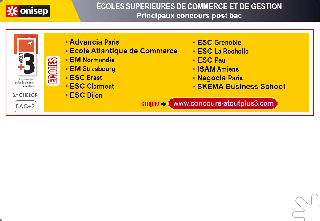 ECOLES ÉCOLES SUPERIEURES DE COMMERCE ET DE GESTION