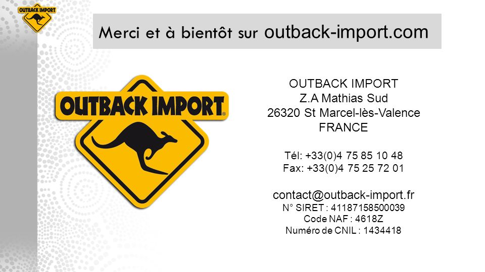 Merci et à bientôt sur outback-import.com