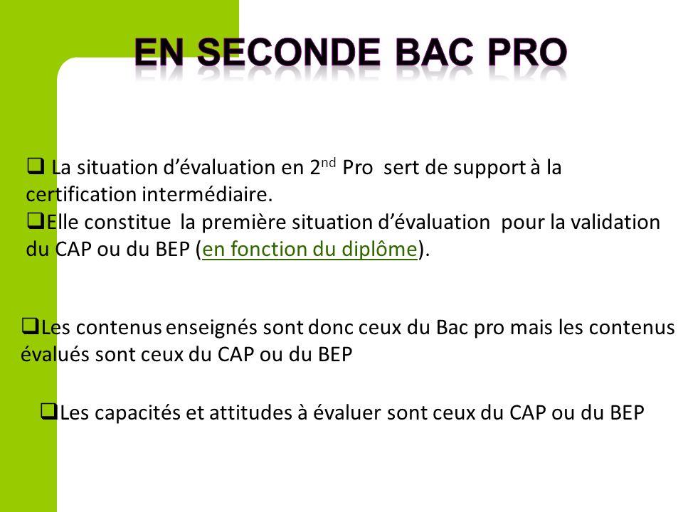 en seconde bac pro La situation d'évaluation en 2nd Pro sert de support à la certification intermédiaire.