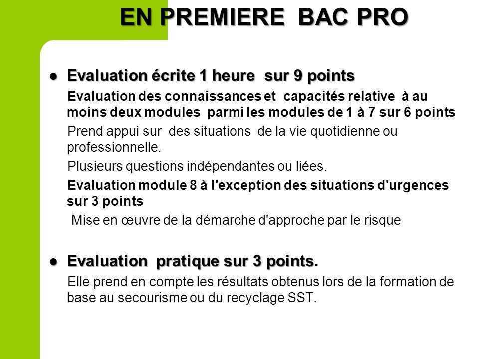 EN PREMIERE BAC PRO Evaluation écrite 1 heure sur 9 points