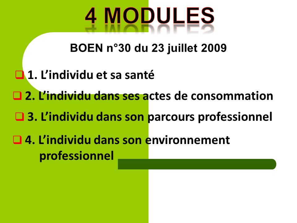 4 modules professionnel BOEN n°30 du 23 juillet 2009