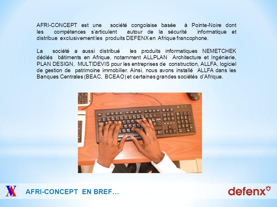 AFRI-CONCEPT est une société congolaise basée à Pointe-Noire dont les compétences s'articulent autour de la sécurité informatique et distribue exclusivement les produits DEFENX en Afrique francophone.